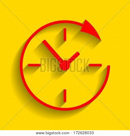 Service and support for customers around the clock and 24 hours. Vector. Red icon with soft shadow on golden background.