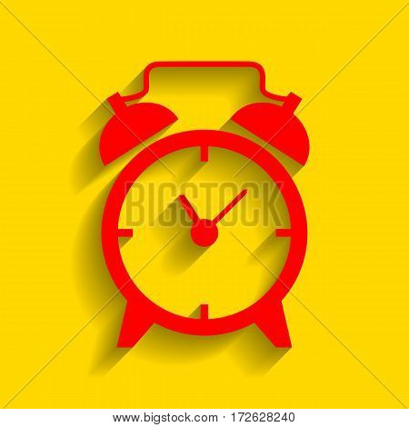 Alarm clock sign. Vector. Red icon with soft shadow on golden background.