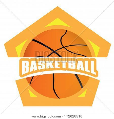 Isolated basketball emblem with a ball, Vector illustration