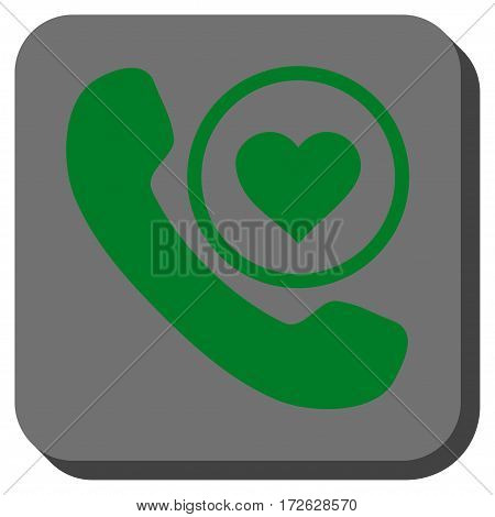 Love Phone Call interface toolbar button. Vector pictograph style is a flat symbol in a rounded square button green and gray colors.