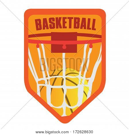 Isolated basketball emblem with a ball and net, Vector illustration