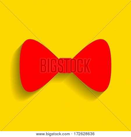 Bow Tie icon. Vector. Red icon with soft shadow on golden background.