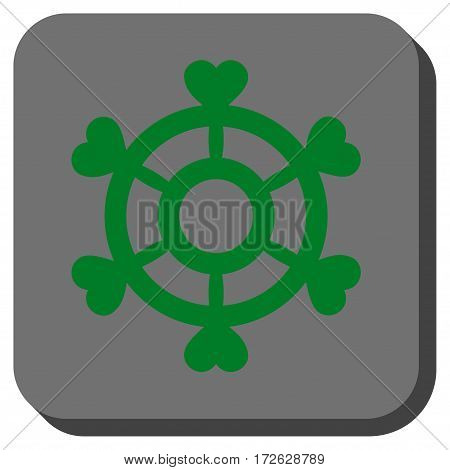 Lovely Boat Steering Wheel interface button. Vector pictogram style is a flat symbol inside a rounded square button green and gray colors.