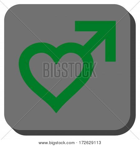 Male Heart interface toolbar button. Vector pictograph style is a flat symbol in a rounded square button green and gray colors.