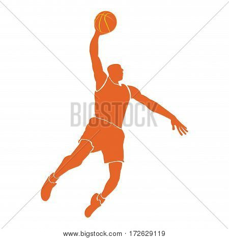 Isolated silhouette of a basketball player, Vector illustration