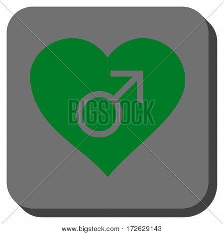 Male Love Heart rounded icon. Vector pictogram style is a flat symbol on a rounded square button green and gray colors.