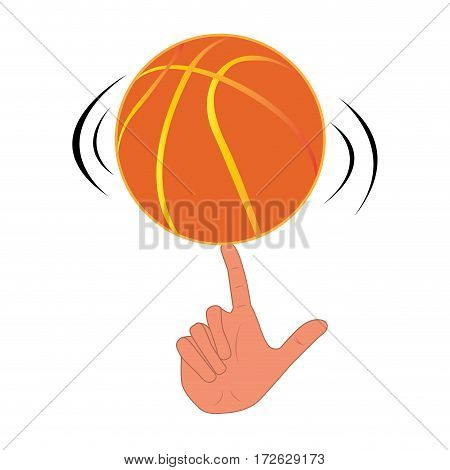 Isolated hand playing with a basketball ball, Vector illustration