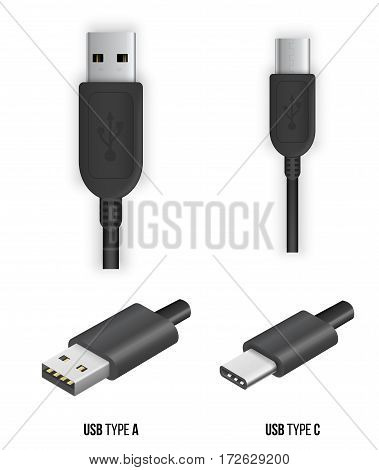 USB type A and type C plug, universal computer cable connector, vector illustration