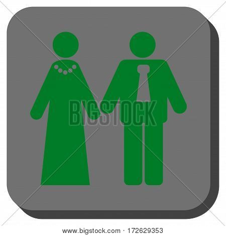 Newlyweds interface icon. Vector pictogram style is a flat symbol on a rounded square button green and gray colors.