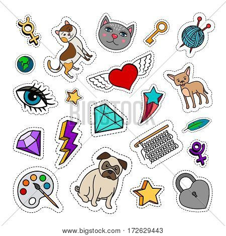 Quirky fashion patches set with animals, diamond, heart and key on white background. Vector stickers or badges collection