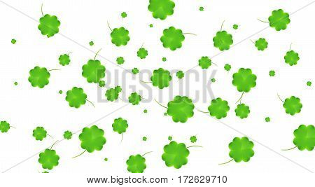 Clover flying leaves background. Saint Patrick's Day banner. Four leaf clover leaves