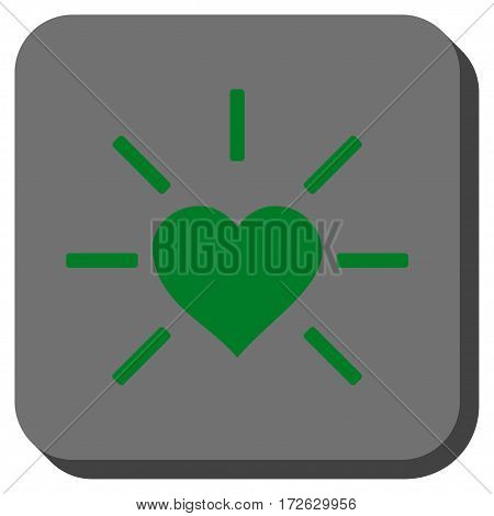 Shiny Love Heart rounded icon. Vector pictogram style is a flat symbol inside a rounded square button green and gray colors.