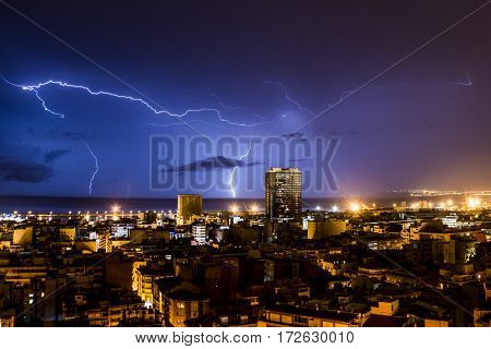 Lightning and thunder during a thunderstorm, one night in Alicante