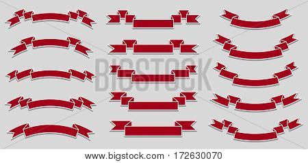 Set of different red ribbons. Vector illustration.