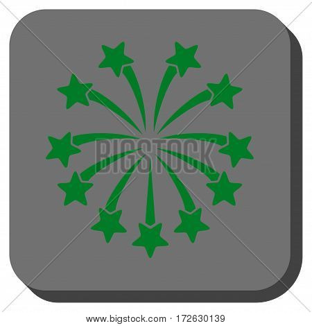 Spherical Fireworks square button. Vector pictograph style is a flat symbol in a rounded square button green and gray colors.