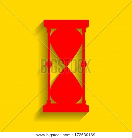 Hourglass sign illustration. Vector. Red icon with soft shadow on golden background.