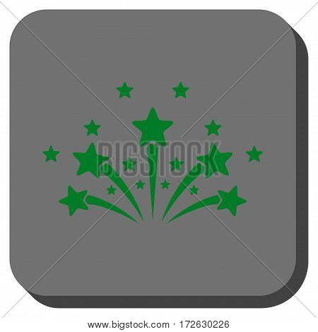 Star Fireworks interface toolbar button. Vector pictogram style is a flat symbol on a rounded square button green and gray colors.