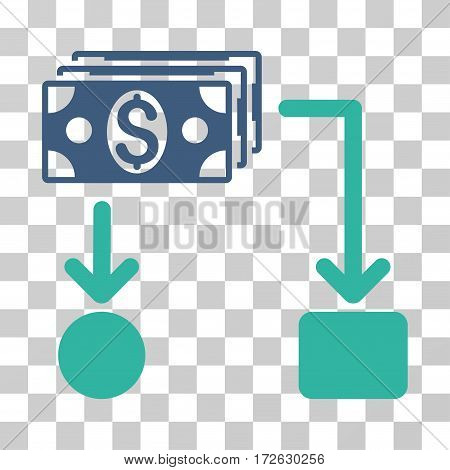 Cashflow icon. Vector illustration style is flat iconic bicolor symbol cobalt and cyan colors transparent background. Designed for web and software interfaces.