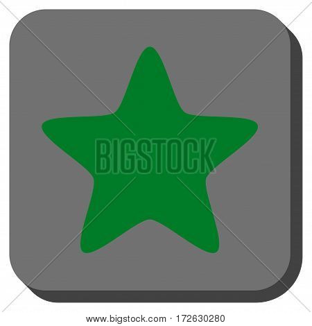 Star toolbar button. Vector pictogram style is a flat symbol inside a rounded square button green and gray colors.