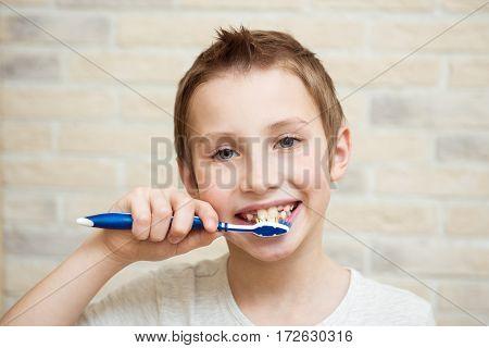 Cute boy brushing his teeth. Light background