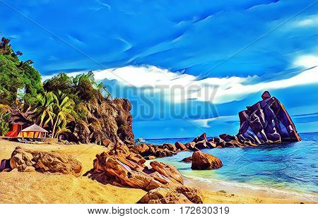 Tropical beach with stones and rocks. Sand beach view with cloudy sky. Nature of tropical island. Exotic seaside digital illustration. Still sea water and sunny beach. Relaxing travel image