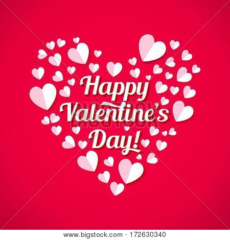 Valentines day heart realistic vector illustrations. White paper cut hearts and lettering on pink background