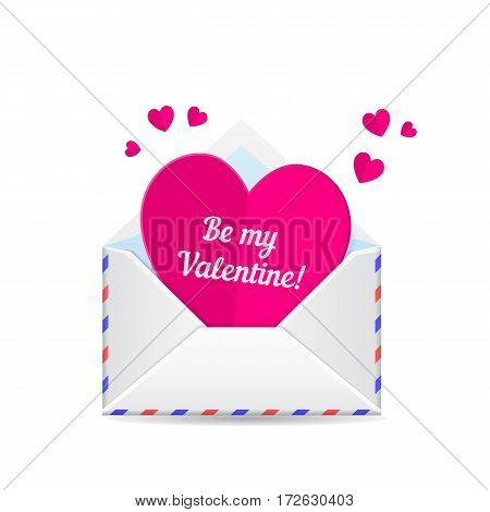 Love mail, valentines day heart. Paper cut heart and envelope