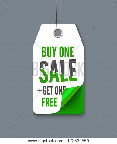 Promotion tag buy one get one free. Realistic vector paper label with curl corner