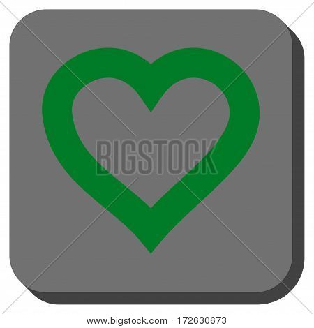 Valentine Heart interface icon. Vector pictogram style is a flat symbol centered in a rounded square button green and gray colors.