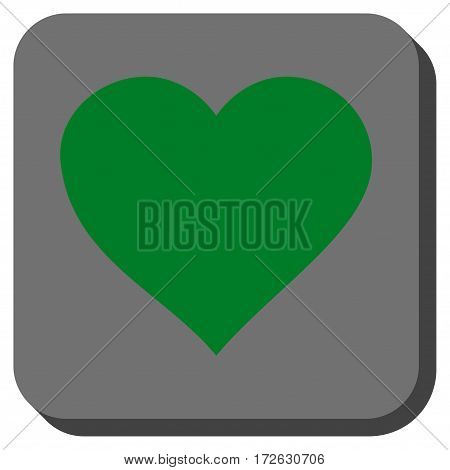 Valentine Heart interface button. Vector pictogram style is a flat symbol centered in a rounded square button green and gray colors.