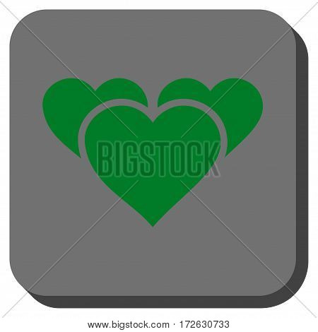 Valentine Hearts square button. Vector pictograph style is a flat symbol on a rounded square button green and gray colors.