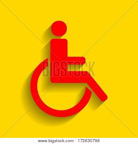 Disabled sign illustration. Vector. Red icon with soft shadow on golden background.