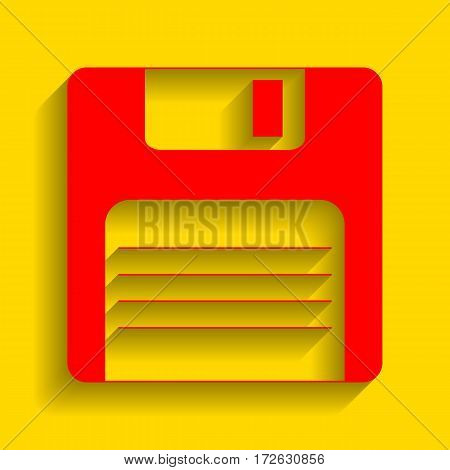 Floppy disk sign. Vector. Red icon with soft shadow on golden background.