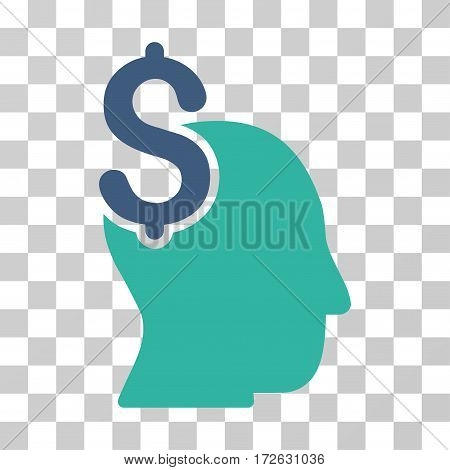 Commercial Intellect icon. Vector illustration style is flat iconic bicolor symbol cobalt and cyan colors transparent background. Designed for web and software interfaces.
