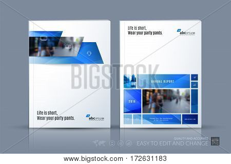 Business vector template. Brochure layout, cover modern design annual report, magazine, flyer in A4 with many blue rectangles, banners for business with abstract texture background.