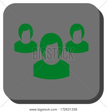 Woman Group interface button. Vector pictograph style is a flat symbol in a rounded square button green and gray colors.