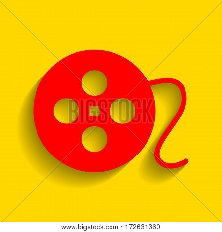 Film circular sign. Vector. Red icon with soft shadow on golden background.