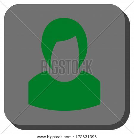 Woman Profile toolbar icon. Vector pictograph style is a flat symbol inside a rounded square button green and gray colors.