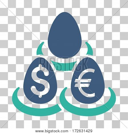 Currency Deposit Diversification icon. Vector illustration style is flat iconic bicolor symbol cobalt and cyan colors transparent background. Designed for web and software interfaces.