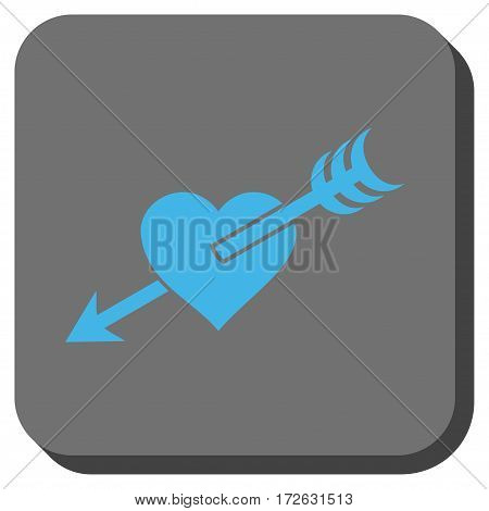 Arrow Heart interface button. Vector pictogram style is a flat symbol centered in a rounded square button light blue and gray colors.