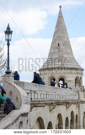 BUDAPEST, HUNGARY - FRBRUARY 20, 2016: Fisherman's Castle is a terrace in neo-Gothic and neo-Romanesque style situated on the Buda bank of the Danube in Budapest, Hungary.