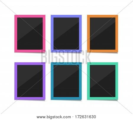 Collect moments. Flat vector retro photo frames. Colorful instant photo frame collection. Empty flat pop art photos on white background.
