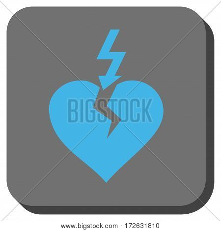Break Heart toolbar icon. Vector pictogram style is a flat symbol inside a rounded square button light blue and gray colors.