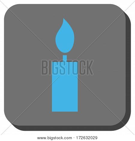 Candle interface toolbar button. Vector pictograph style is a flat symbol centered in a rounded square button light blue and gray colors.