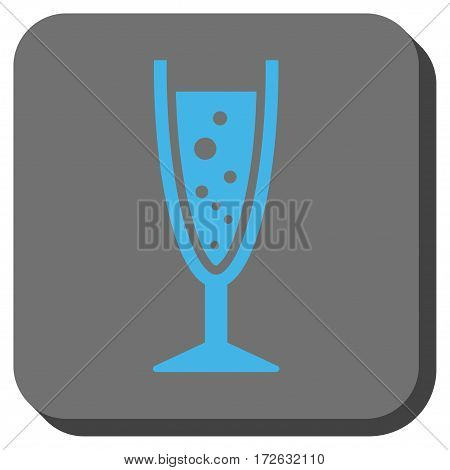 Champagne Glass toolbar icon. Vector pictogram style is a flat symbol inside a rounded square button light blue and gray colors.