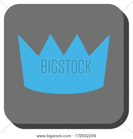 Crown interface button. Vector pictogram style is a flat symbol centered in a rounded square button light blue and gray colors.