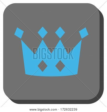 Crown toolbar icon. Vector pictograph style is a flat symbol centered in a rounded square button light blue and gray colors.