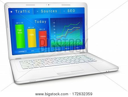 Website traffic reporting data on laptop screen. Dashboard of webmaster in blue design: analytic graphs and charts. Three-quarter view. Vector illustration isolated on white background.