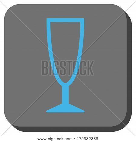 Empty Wine Glass interface toolbar icon. Vector pictogram style is a flat symbol in a rounded square button light blue and gray colors.