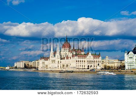 Parliament building in Budapest, Hungary. The most famous landmark of the city.